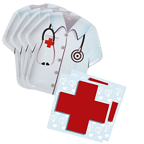 Doctor Party Shaped Plate & Napkin Sets (70+ Pieces for 32 Guests!), Doctor Birthday Decorations, Nurse Party Supplies, Great for Graduations and Other Events