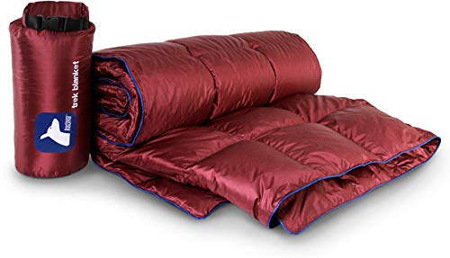 Horizon Hound Down Camping Blanket - Outdoor Lightweight Packable Down Blanket Compact Waterproof and Warm for Camping Hiking Travel - 650 Fill Power (Red, 80 x 54)