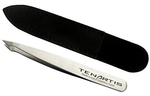 Hair Tweezers Stainless Steel with Leather Case - Tenartis Made in Italy (Slant/Pointed)