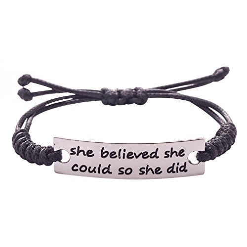 JANE STONE Fashion Inspirational Leather Bracelets Silver Plated Ornaments for Women She Believed She Could So She Did(Fn1568)