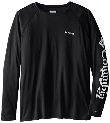 Columbia Sportswear Men's Terminal Tackle Long Sleeve Shirt, Black/Cool Grey Logo, X-Large Tall