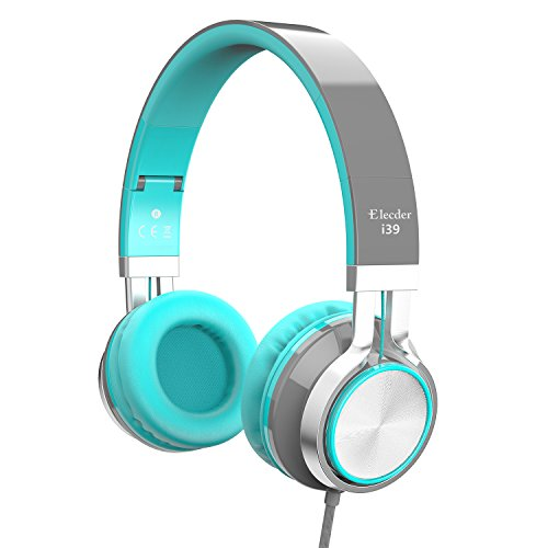 Elecder i39 Headphones with Microphone for Kids Children Girls Boys Teens Adults Foldable Adjustable On Ear Headsets for iPad Cellphones Computer MP3/4 Kindle Airplane School (Mint/Gray)