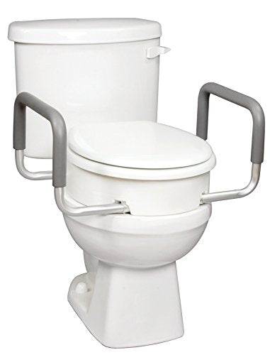 Carex Raised Toilet Seat With Handles - For Standard Round Toilets - Adds 3.5 Inches to Toilet Height - Toilet Seat Riser For Handicap and Seniors
