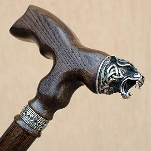 "Top-Quality Wooden Walking Cane - Handmade Stick with Unique Celtic Bear Pommel - Custom Length 32""-39"" - Up to 400 Lbs - Ergonomic Handle - Available in 6 Colors - Natural Oak"
