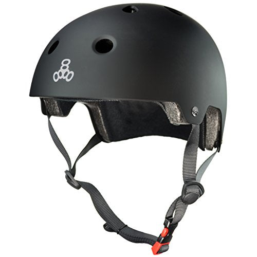 Triple Eight 3038 Dual Certified Helmet, Large/X-Large, All Black Rubber
