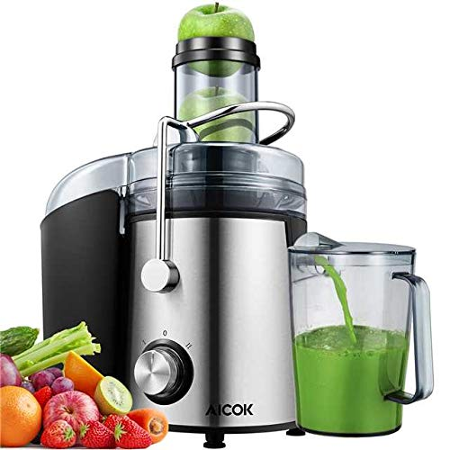 AICOK 1000W Powerful Machine Real 3'' Whole Fruit and Vegetable Feeder Dual Speeds Centrifugal Juicer, Anti-drip, Stainless Steel and BPA Free, Silver, Black