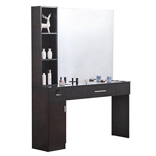 BarberPub Makeup Mirrors Station Wall Mount Hair Styling Barber Station Beauty Salon Spa Equipment Set w/Mirror 3046, Black