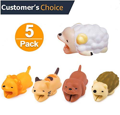 Cozosun 5PCS Cute Animal Cable Bites (Lion+Dog+Hedgehog+Sheep+Cat) Compatible for iPhone Cable Bite Cord Data Line Protector Cell Phone Accessories