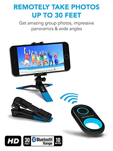 Premium HD Bluetooth Selfie Remote Control Camera Shutter + Mini Tripod for  All iPhones, All Samsung Galaxy, Most Androids - Works with Snapchat for