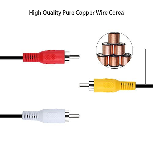"Onvian 3.5mm to 3 RCA 1/8"" Male Plug to RCA Stereo Audio Video Male AUX Cable 5FT Cord (3.5mm to 3 RCA)"