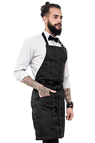 Under NY Sky No-Tie Barber Black Apron – Coated Heavy-Duty Nylon, Water and Chemical Resistant, Zipped Pockets, Split-Leg – Adjustable for Men, Women – Pro Hair Stylist, Colorist, Artist, Bartender