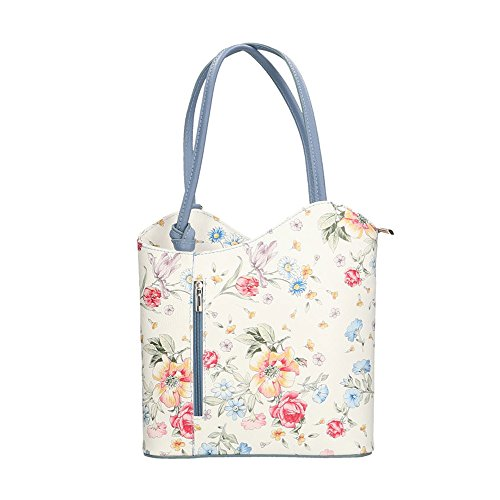 Chicca Borse Woman Shoulder Bag Floral Pattern in Genuine Leather Made in Italy