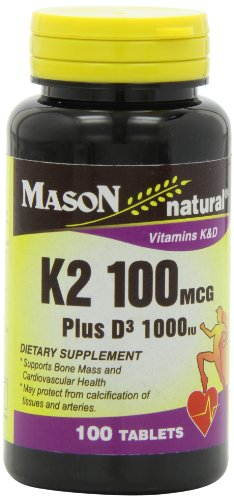Mason Natural, Vitamin K2 Plus D3 Tablets, 100 Count, Dietary Supplement Supports Healthy Intestine and Liver Functions, Promotes Vascular Health