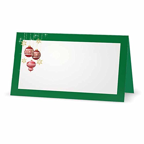 Christmas Balls Green Place Cards - Flat or Tent Style - 10 or 50 Pack - White Blank Front with Border - Placement Table Name Seating Stationery Party Supplies Occasion Dinner (50, Tent Style)