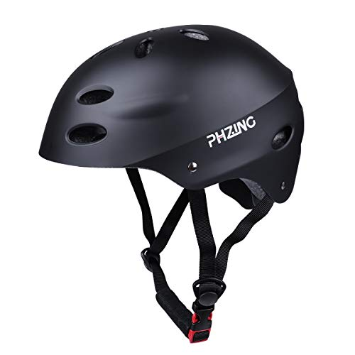 PHZING Skateboard Helmet CPSC Certified with Adjustable System for Kids/Youth/Adults Ideal for Skateboarding Scooter Roller Skate Rollerblading Longboard (Black, Medium)