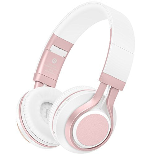 Wireless Headphones, HiFi Stereo Bluetooth Headphones with Mic, Lightweight Foldable Headset, Soft Protein Earmuffs, Support TF Card & FM Radio Wired Mode for PC TV Travel Kids Girl Women (Rose Gold)