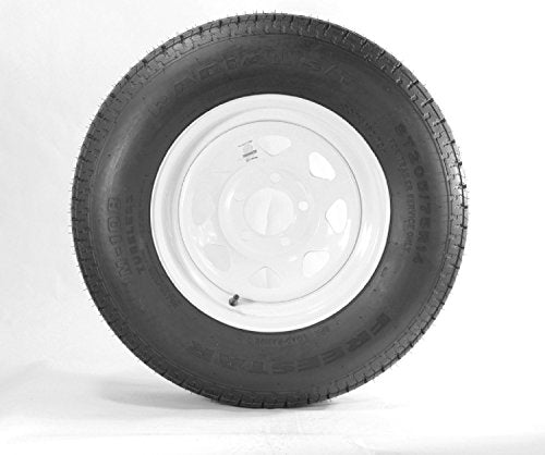 "14"" White Spoke Trailer Wheel with Bias ST205/75D14 Tire Mounted (5x4.5) bolt circle"