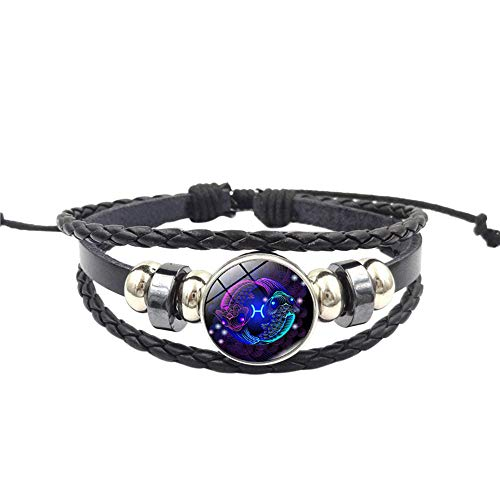 Sinfu Women Men Fluorescent Color 12 Constellation with Detachable Pendant Multi-Layer Bracelet Handmade Wristband Leather Bracelet Bangle (H)