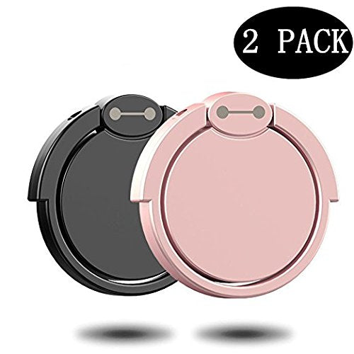 Finger Ring Stand 2 Pack, Masua 360° Rotary Cell Phone Holder Finger Loop Grip Mount Universal Smartphone Kickstand for iPhone 6/6s Plus, iPhone 7/7 Plus, Samsung Galaxy S8/S8 -Black+ Rose Gold