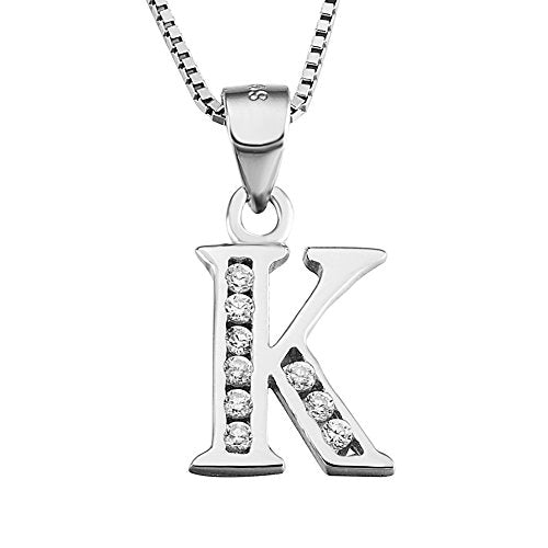 YFN S925 Sterling Silver Cubic Zirconia 26 Letters Alphabet Personalized Charm Pendant Necklace (Alphabet K)