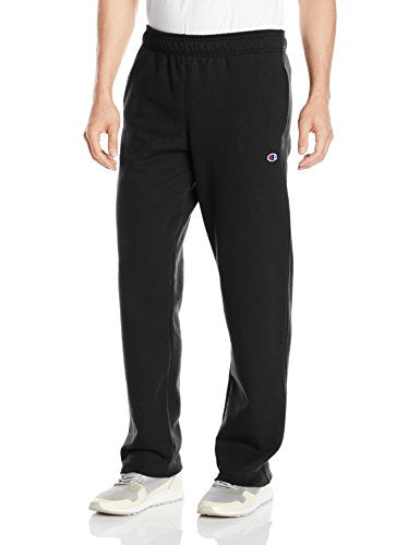 Champion Men's Powerblend Open Bottom Fleece Pant, Black, 2XL