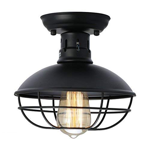 KingSo Industrial Metal Cage Ceiling Light, E26 Rustic Mini Semi Flush Mounted Pendant Lighting Dome/Bowl Shaped Lamp Fixture Farmhouse Style for Hallway Kitchen Garage Porch Bathroom