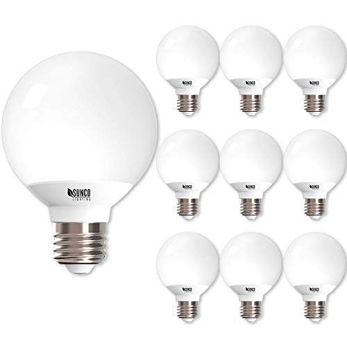 Sunco Lighting 10 Pack G25 LED Globe, 6W=40W, Dimmable, 3000K Warm White, E26 base, Omnidirection Bulb for Vanities, Lamps, Light Fixtures - UL & Energy Star