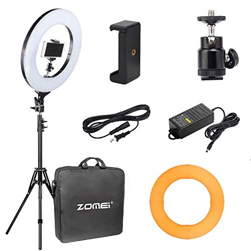"Zomei Camera Photo/Video 14"" Outer 12"" Inner 480W 5500K Ring Fluorescent Flash Light with Stand Perfect for YouTube Facebook Live Stream"