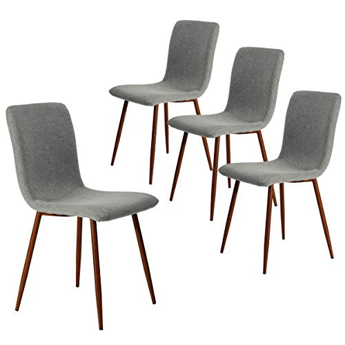 Coavas Kitchen Dining Chairs Set of 4 Fabric Cushion Side Chairs with Sturdy Metal Legs for Home Kitchen Living Room Table Guest Chairs, Grey …