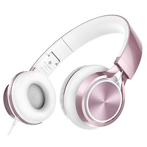 AILIHEN MS300 Wired Headphones, Stereo Foldable Headset for iOS Android Smartphone Laptop Tablet PC Computer (Rose Gold)