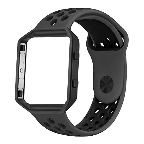 UMTELE Soft Silicone Replacement Strap Black Frame Compatible Fitbit Blaze Smart Fitness Watch, Large, Anthracite/Black