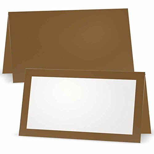 Tawny Brown Place Cards - FLAT or TENT - 10 or 50 Pack - White Blank Front with Color Border - Placement Table Name Seating Stationery Party Supplies - Occasion or Dinner Event (10, TENT STYLE)