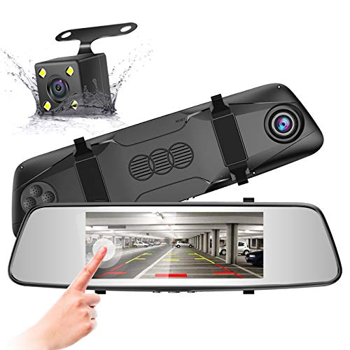 Pruveeo D700 7-Inch Touch Screen Backup Camera Dash Cam Front and Rear Dual Channel with 4 Pin Rear View Reversing Camera