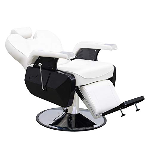 BarberPub All Purpose Hydraulic Reclining Barber Chair Salon Spa Beauty Chair Styling Equipment 6154-2687 (White)