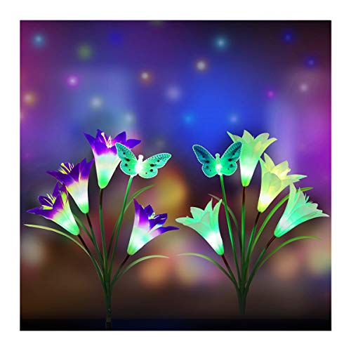 Outdoor Solar Butterfly Garden Stake Lights,2Pack Digiroot Solar Powered Lights with 8 Lily Flower&2 Butterfly,Multi-Color Changing LED Solar Decorative Lights for Garden,Patio,Backyard(Purple&White)