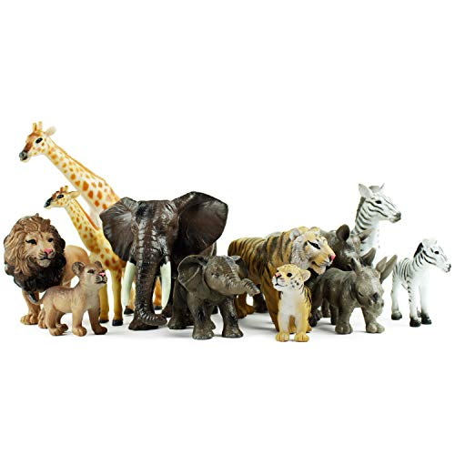 Boley 12 Piece Safari Animal Set - Different Varieties of Zoo Animals, Jungle Animals, African Animals, and Baby Animals - Great Educational and Child Development Toy for Kids, Children, Toddlers