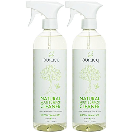 Puracy Natural All Purpose Cleaner, Streak-Free Household Multi-Surface Spray, Nontoxic, Green Tea & Lime, 25 Ounce, (Pack of 2)