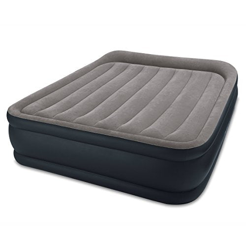 "Intex Dura-Beam Standard Series Deluxe Pillow Rest Raised Airbed w/Soft Flocked Top for Comfort, Built-in Pillow & Electric Pump, Bed Height 16.5"""", Queen"