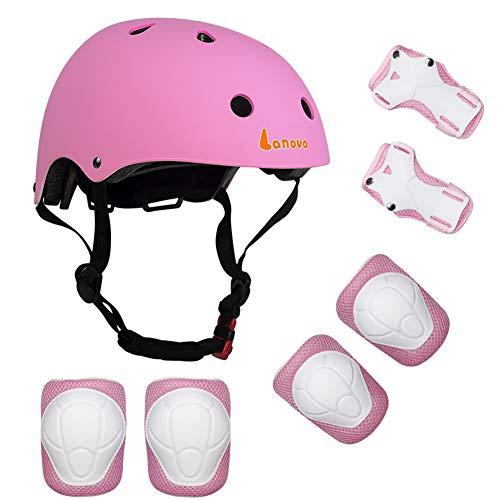 Lanova Kids Adjustable Sports Protective Gear Set Safety Pad Safeguard (Helmet Knee Elbow Wrist) Roller Bicycle BMX Bike Skateboard and Other Extreme Sports Activities (Pink)