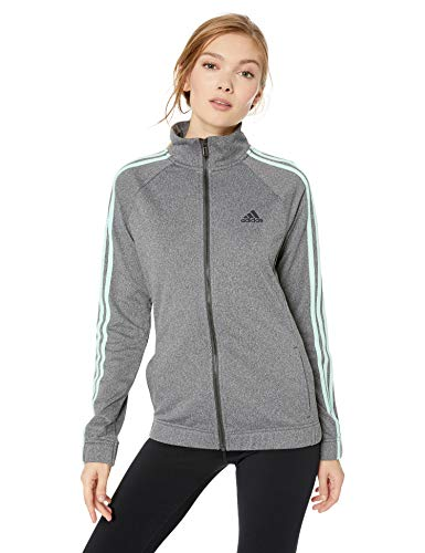 adidas Women's Designed-2-Move Track Jacket, Dark Grey/Clear Mint, X-Large