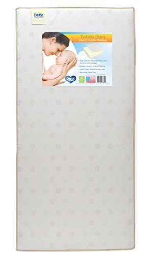 Delta Children Twinkle Stars Fiber Core Crib and Toddler Mattress | Waterproof | Lightweight | GREENGUARD Gold Certified (Natural/Non-Toxic)