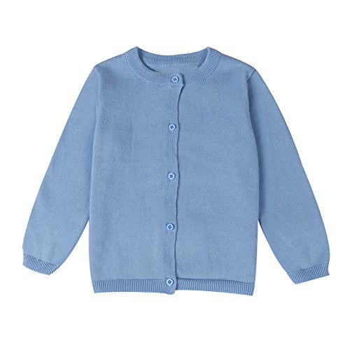 LOSORN ZPY Baby Boys Girls Button-Down Cardigan Toddler Cotton Knit Sweater Blue 110