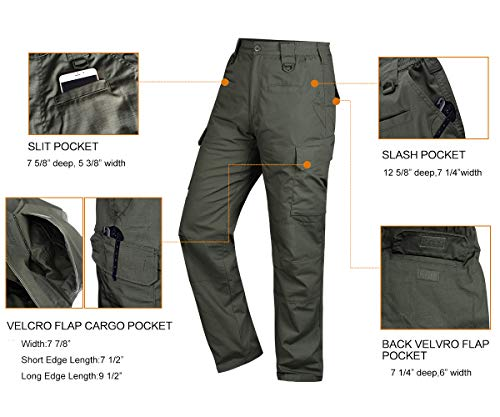 145728689ccd2 HARD LAND Men's Waterproof Tactical Pants Ripstop Cargo Work Pants with Elastic  Waist for Hunting Fishing