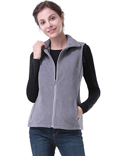 CHICIRIS Women's Lightweight Casual Gilet Stand Collar Outdoor Recreation Vests Gray XL