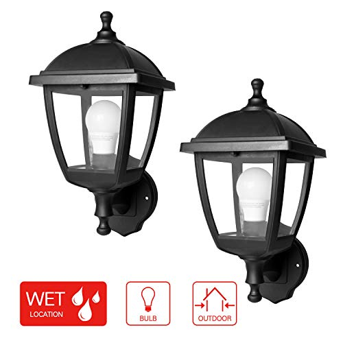SPECILITE Outdoor Wall Light, 2700K 800LM LED Security Black Lantern Fixtures Lamp Lighting for Front or Back Entryway, Porch, Garage, Deck, or Balcony (2 Pack)