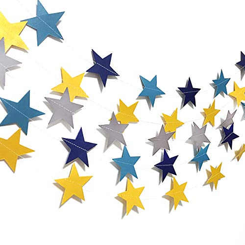 Luling Arts Star Garland, 65 Feet Paper Star Banner Garland Hanging Decorations, Table Wall Ceiling Decor, Event & Party Supplies for Wedding, Birthday, Baby Shower and More, 2.75 Inches