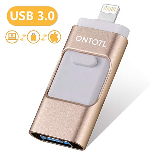USB Flash Drives Compatible iPhone/iOS 128GB [3-in-1] Lightning OTG Jump Drive, ONTOTL USB 3.0 Thumb Drive External USB Memory Storage, Flash Memory Stick Compatible Apple, iPad, Android & PC (Gold)