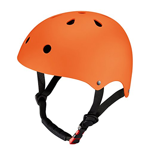 KUYOU Youth Skateboarding Helmet,Ultimate Adjustable ABS Shell for Cycling /Skateboard/Scooter/ Skate Inline Skating /Rollerblading Protective Gear Suitable Men /Women.(M Orange)