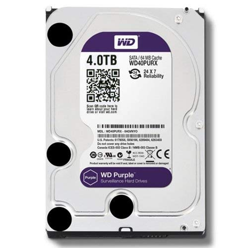 WD Purple 4TB Surveillance Hard Disk Drive - 5400 RPM Class SATA 6 Gb/s 64MB Cache 3.5 Inch - WD40PURZ [Old Version]
