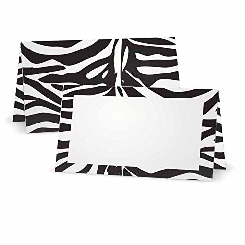 Zebra Animal Print Place Cards - FLAT or TENT Style - 10 or 50 PACK - White Blank Front with Border - Placement Table Name Seating Stationery Party Supplies Dinner Occasion Event (10, TENT STYLE)